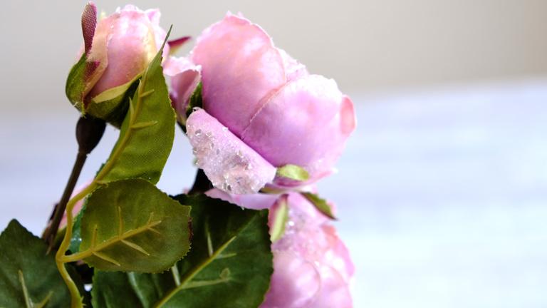 花びらの内側に付いた、クリアな大きめのラメがキラリと光るバラ。