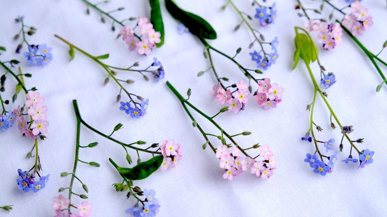 ピンクと水色の忘れな草をランダムに並べている。