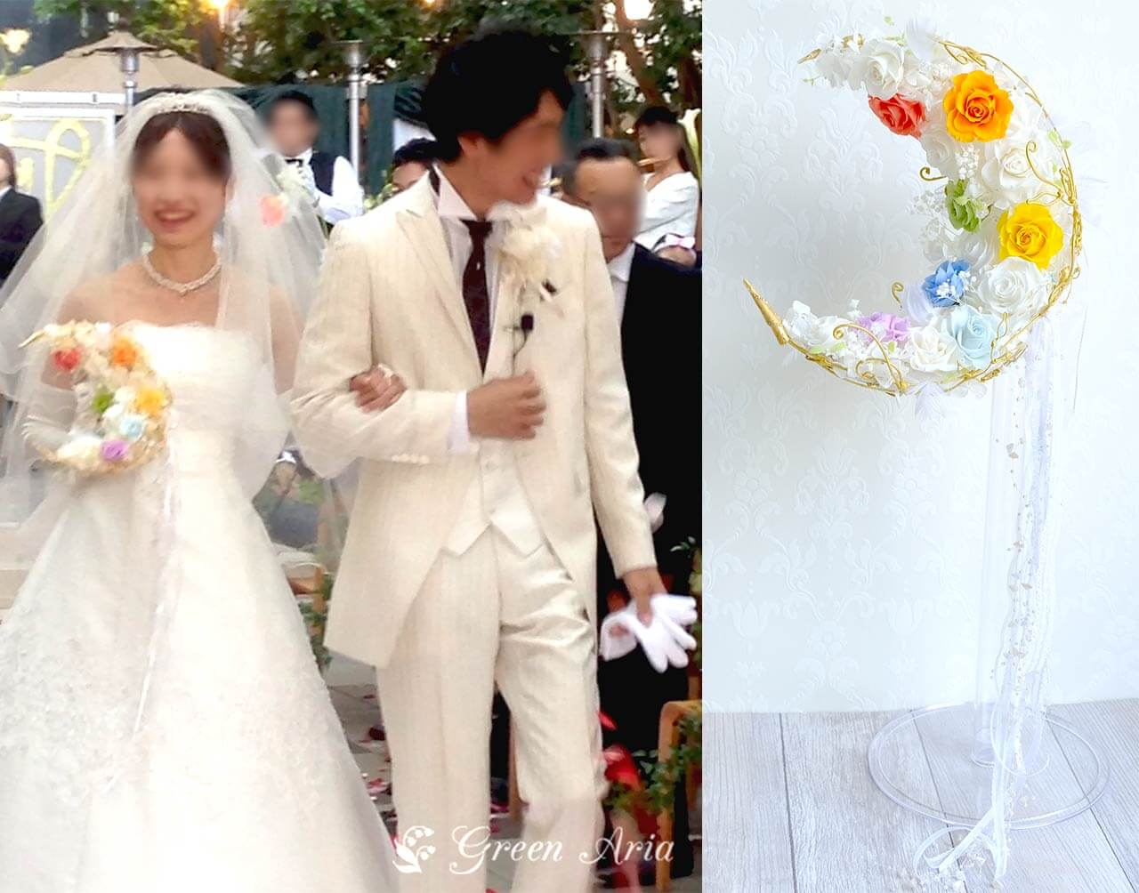 白い三日月形ウエディングブーケに7色のバラが可愛い。新婦と新郎。