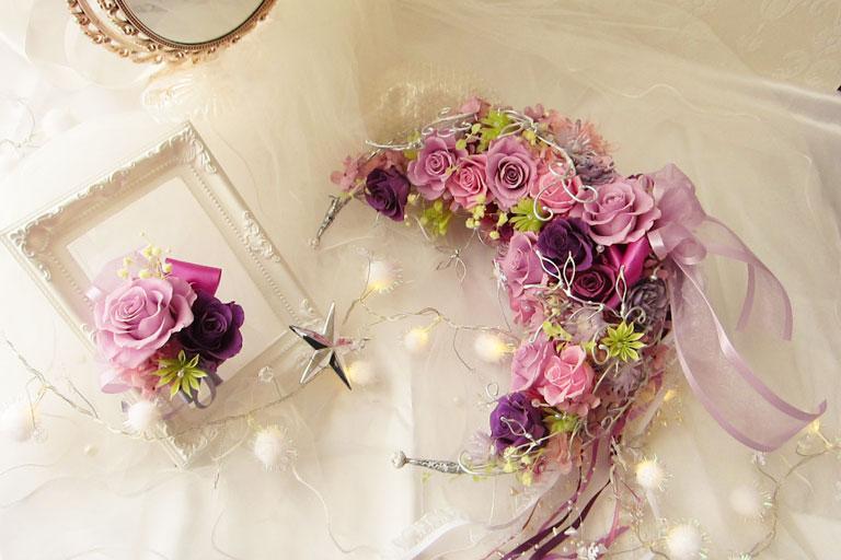 紫とピンクの三日月ウディングブーケ