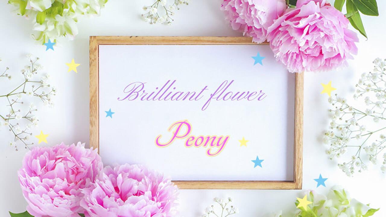 芍薬に囲まれた額縁。華麗な花ピオニーと書いてある